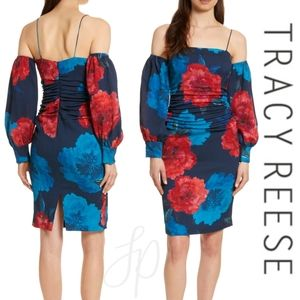 TRACY REESE silk dress off the shoulder ruched 2